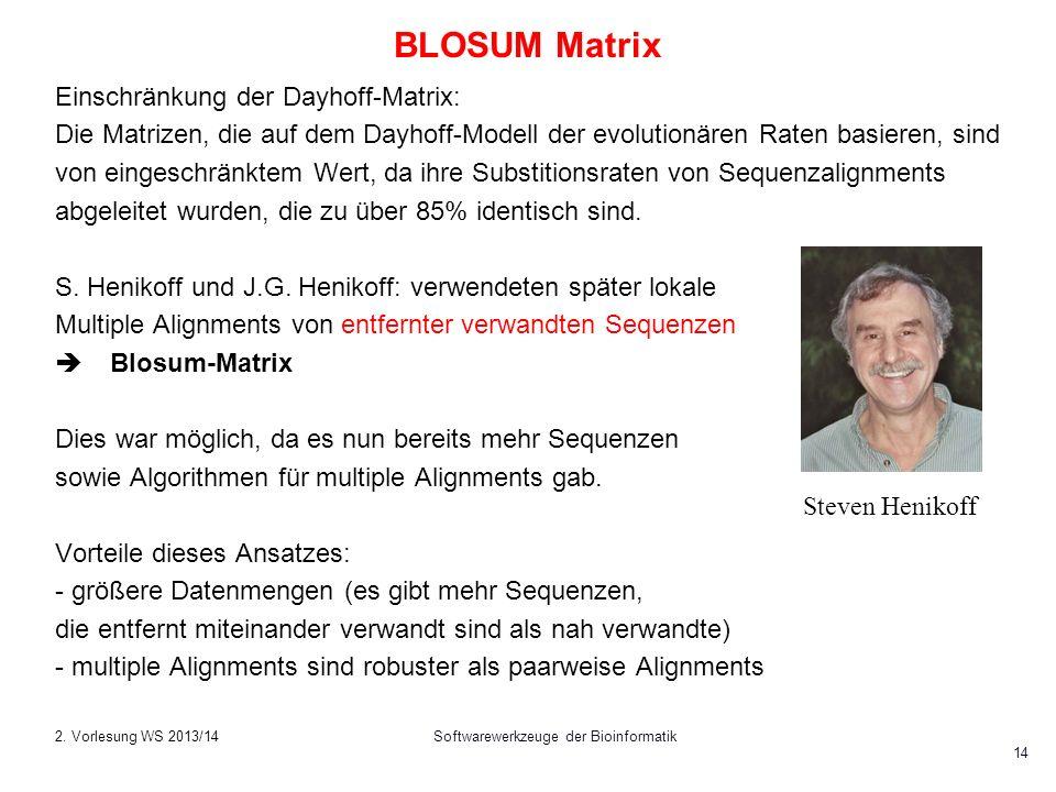Softwarewerkzeuge der Bioinformatik 14 BLOSUM Matrix Einschränkung der Dayhoff-Matrix: Die Matrizen, die auf dem Dayhoff-Modell der evolutionären Rate