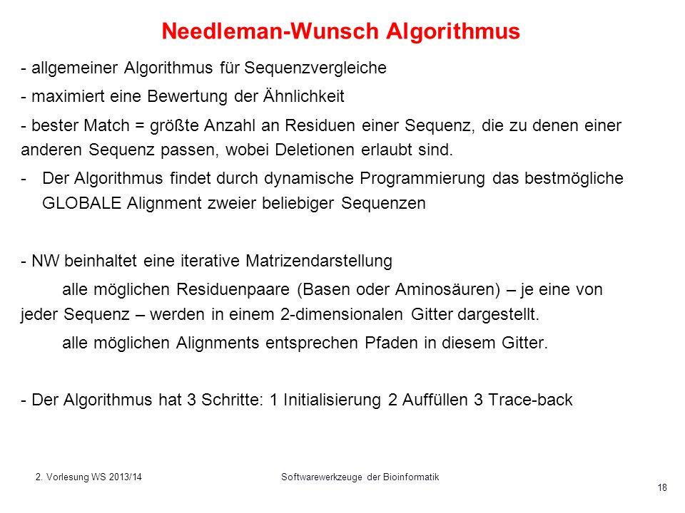 Softwarewerkzeuge der Bioinformatik 18 Needleman-Wunsch Algorithmus - allgemeiner Algorithmus für Sequenzvergleiche - maximiert eine Bewertung der Ähn