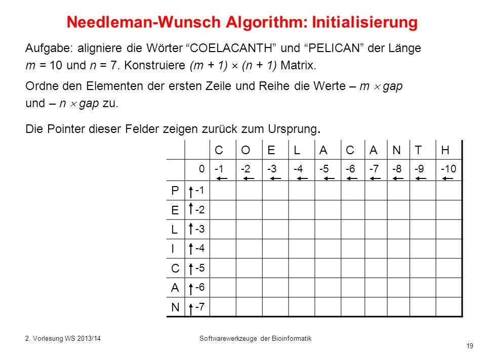 Softwarewerkzeuge der Bioinformatik 19 Needleman-Wunsch Algorithm: Initialisierung Aufgabe: aligniere die Wörter COELACANTH und PELICAN der Länge m =