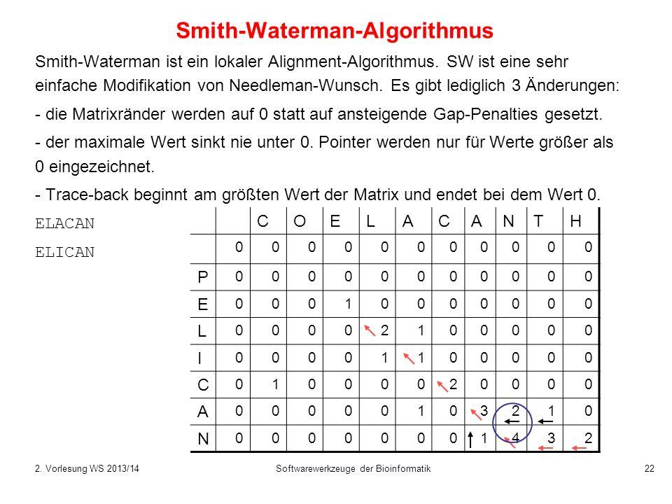 Softwarewerkzeuge der Bioinformatik 22 Smith-Waterman-Algorithmus Smith-Waterman ist ein lokaler Alignment-Algorithmus. SW ist eine sehr einfache Modi