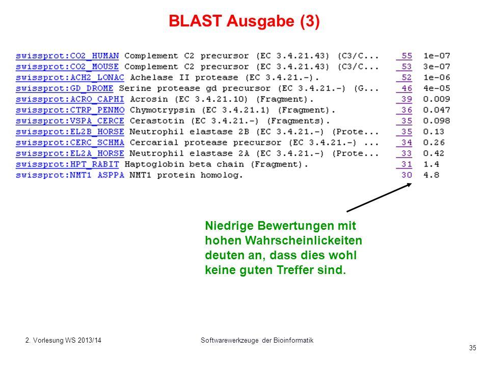 Softwarewerkzeuge der Bioinformatik 35 Niedrige Bewertungen mit hohen Wahrscheinlickeiten deuten an, dass dies wohl keine guten Treffer sind. BLAST Au