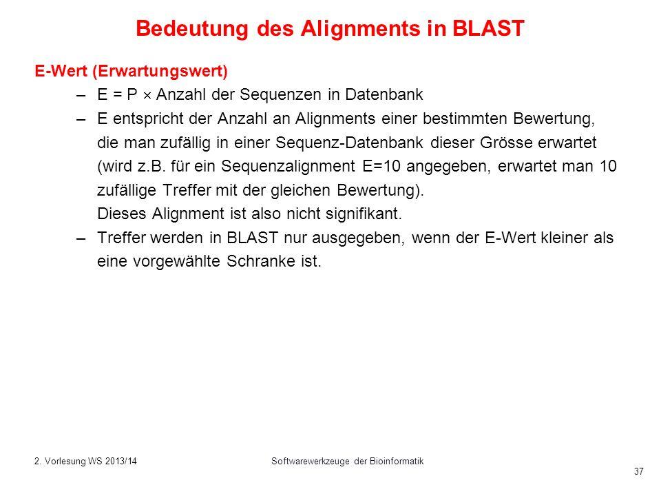 Softwarewerkzeuge der Bioinformatik 37 Bedeutung des Alignments in BLAST E-Wert (Erwartungswert) –E = P Anzahl der Sequenzen in Datenbank –E entsprich