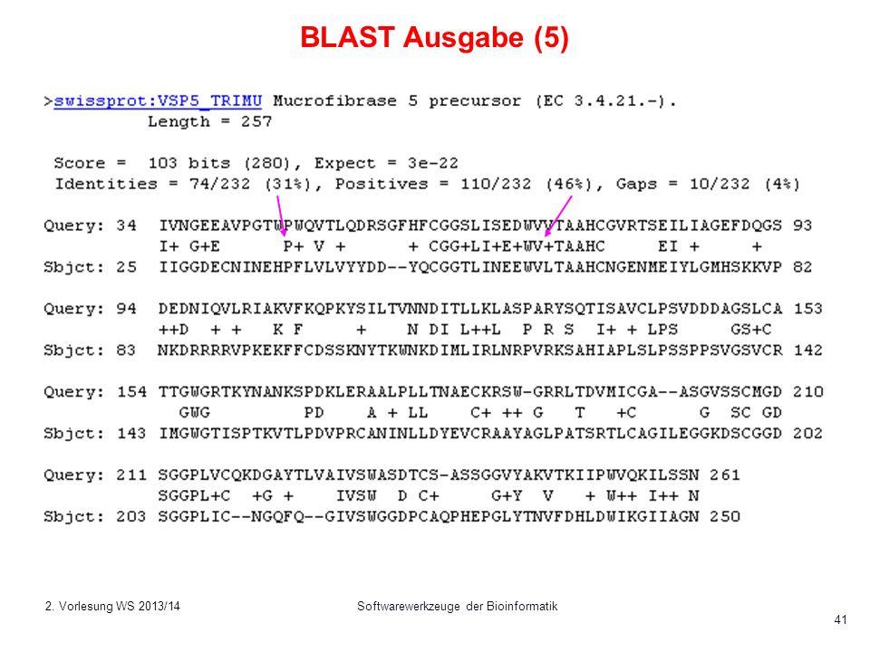 Softwarewerkzeuge der Bioinformatik 41 BLAST Ausgabe (5) 2. Vorlesung WS 2013/14