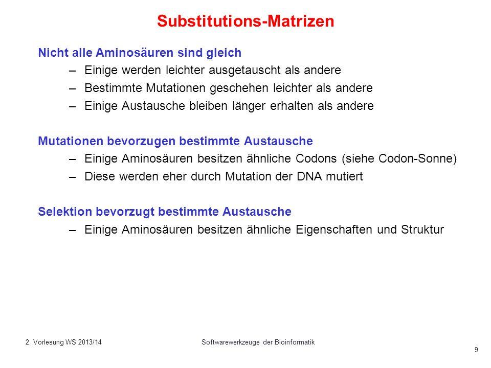 Softwarewerkzeuge der Bioinformatik 9 Substitutions-Matrizen Nicht alle Aminosäuren sind gleich –Einige werden leichter ausgetauscht als andere –Besti