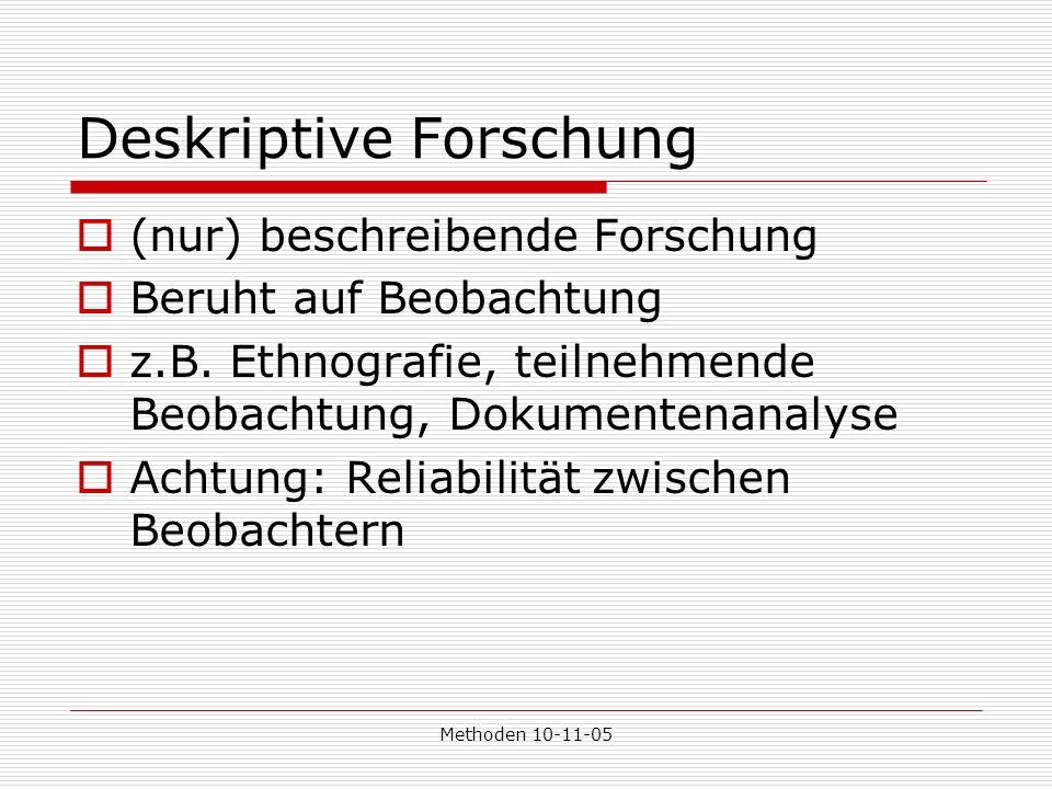 Methoden 10-11-05 Deskriptive Forschung (nur) beschreibende Forschung Beruht auf Beobachtung z.B.