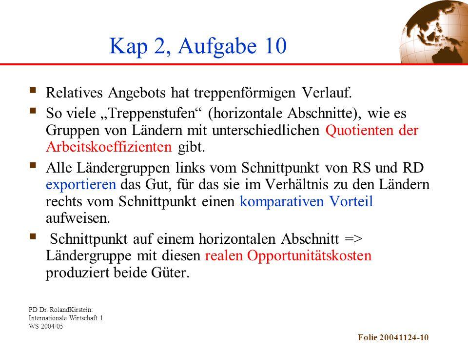 PD Dr. RolandKirstein: Internationale Wirtschaft 1 WS 2004/05 Folie 20041124-10 Kap 2, Aufgabe 10 Relatives Angebots hat treppenförmigen Verlauf. So v
