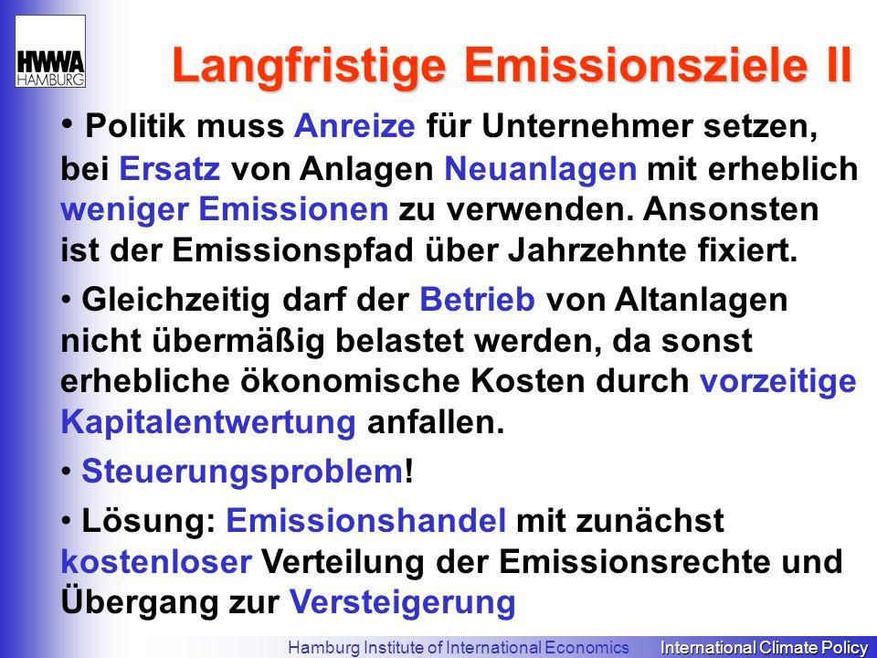 Langfristige Emissionsziele II Politik muss Anreize für Unternehmer setzen, bei Ersatz von Anlagen Neuanlagen mit erheblich weniger Emissionen zu verwenden.