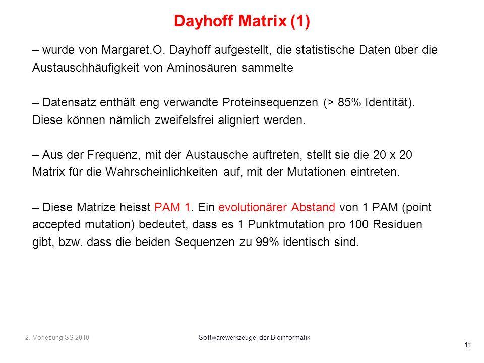 2. Vorlesung SS 2010Softwarewerkzeuge der Bioinformatik 11 Dayhoff Matrix (1) – wurde von Margaret.O. Dayhoff aufgestellt, die statistische Daten über