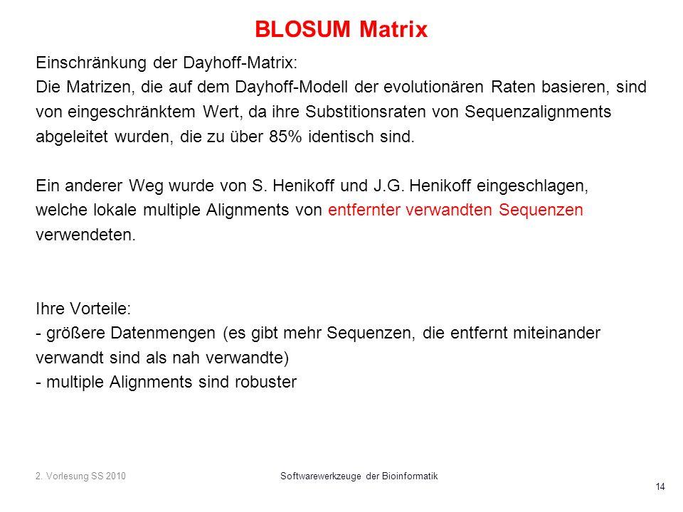 2. Vorlesung SS 2010Softwarewerkzeuge der Bioinformatik 14 BLOSUM Matrix Einschränkung der Dayhoff-Matrix: Die Matrizen, die auf dem Dayhoff-Modell de