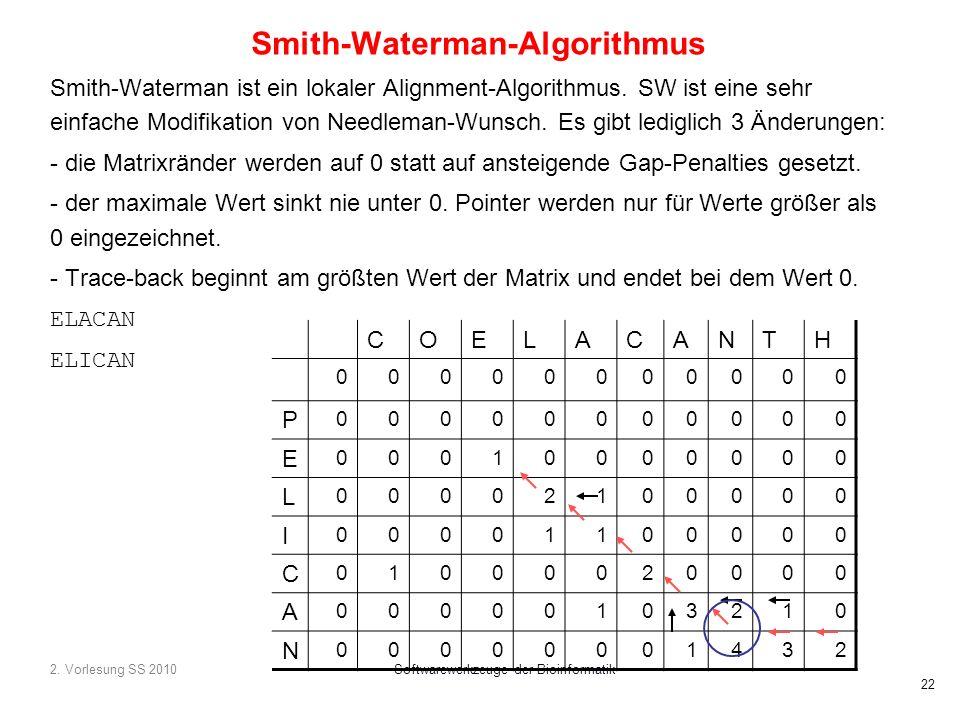 2. Vorlesung SS 2010Softwarewerkzeuge der Bioinformatik 22 Smith-Waterman-Algorithmus Smith-Waterman ist ein lokaler Alignment-Algorithmus. SW ist ein