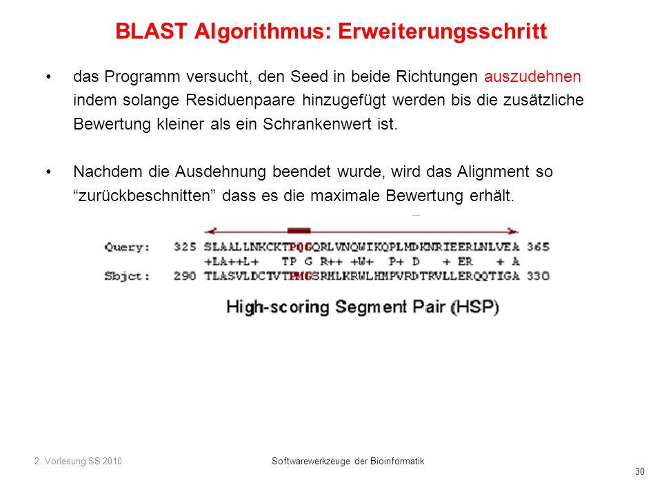 2. Vorlesung SS 2010Softwarewerkzeuge der Bioinformatik 30 BLAST Algorithmus: Erweiterungsschritt das Programm versucht, den Seed in beide Richtungen