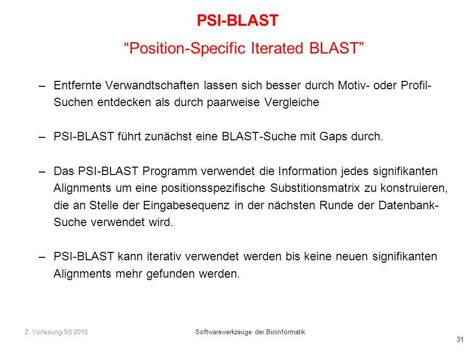 2. Vorlesung SS 2010Softwarewerkzeuge der Bioinformatik 31 PSI-BLAST Position-Specific Iterated BLAST –Entfernte Verwandtschaften lassen sich besser d