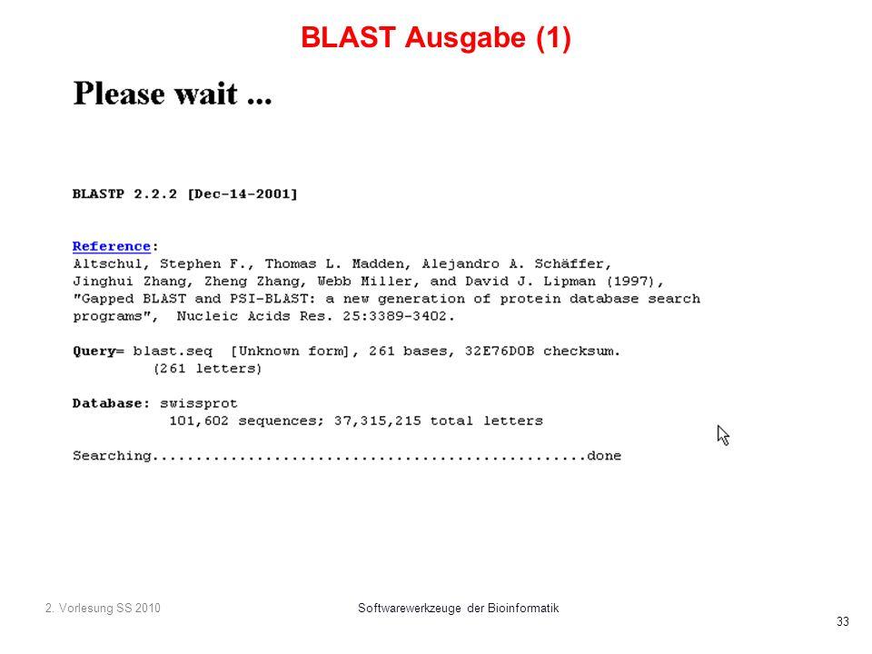 2. Vorlesung SS 2010Softwarewerkzeuge der Bioinformatik 33 BLAST Ausgabe (1)