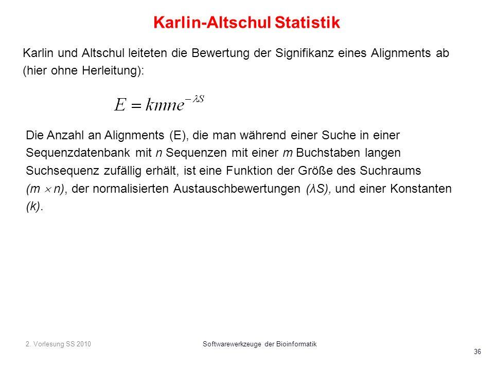 2. Vorlesung SS 2010Softwarewerkzeuge der Bioinformatik 36 Karlin-Altschul Statistik Karlin und Altschul leiteten die Bewertung der Signifikanz eines