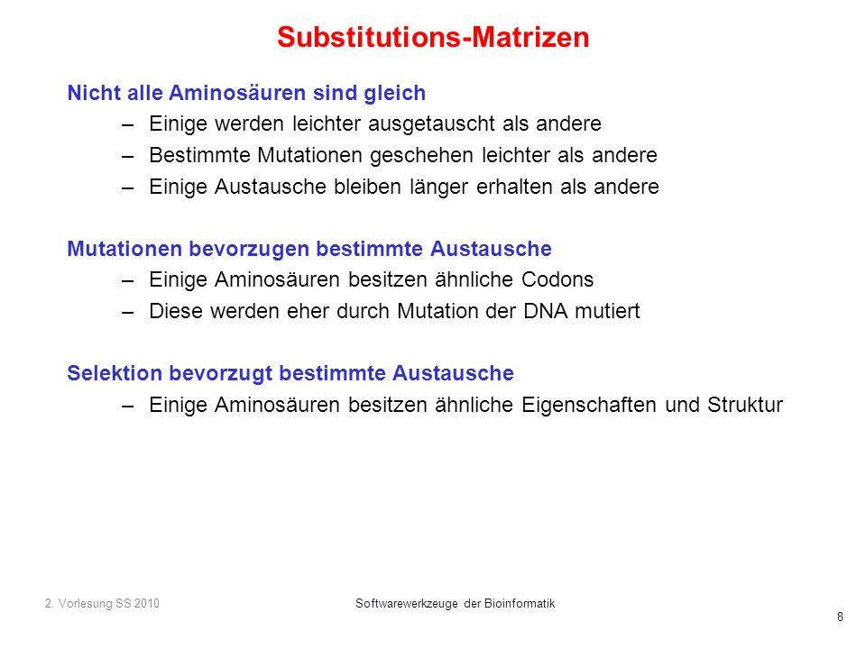 2. Vorlesung SS 2010Softwarewerkzeuge der Bioinformatik 8 Substitutions-Matrizen Nicht alle Aminosäuren sind gleich –Einige werden leichter ausgetausc