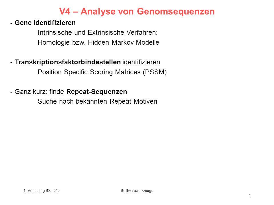 4. Vorlesung SS 2010Softwarewerkzeuge 1 V4 – Analyse von Genomsequenzen - Gene identifizieren Intrinsische und Extrinsische Verfahren: Homologie bzw.