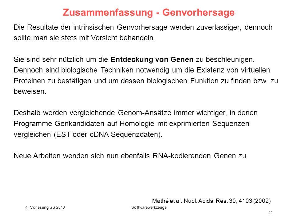 4. Vorlesung SS 2010Softwarewerkzeuge 14 Zusammenfassung - Genvorhersage Die Resultate der intrinsischen Genvorhersage werden zuverlässiger; dennoch s