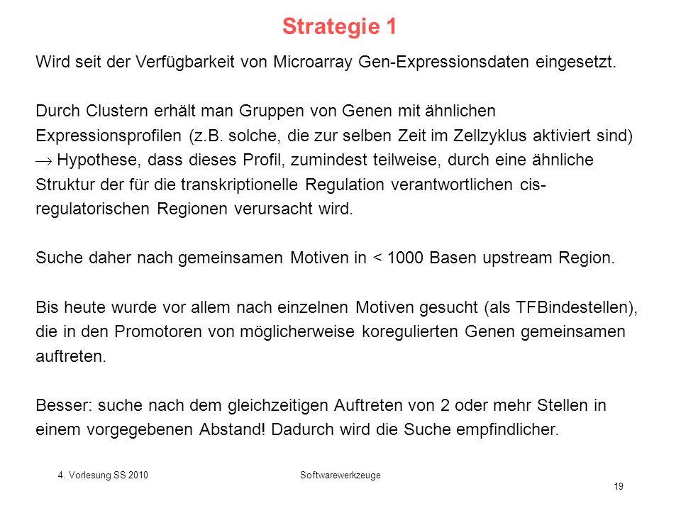 4. Vorlesung SS 2010Softwarewerkzeuge 19 Strategie 1 Wird seit der Verfügbarkeit von Microarray Gen-Expressionsdaten eingesetzt. Durch Clustern erhält