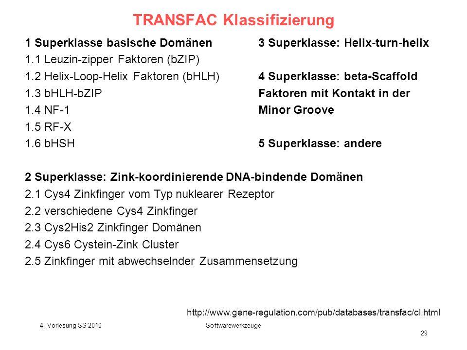 4. Vorlesung SS 2010Softwarewerkzeuge 29 TRANSFAC Klassifizierung 1 Superklasse basische Domänen3 Superklasse: Helix-turn-helix 1.1 Leuzin-zipper Fakt