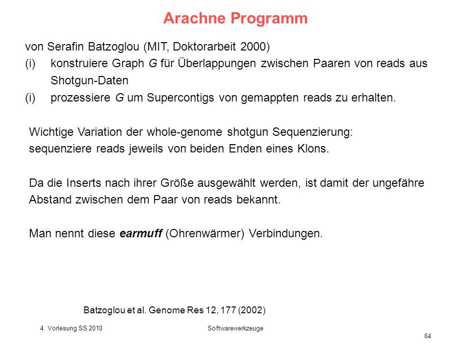 4. Vorlesung SS 2010Softwarewerkzeuge 64 Arachne Programm von Serafin Batzoglou (MIT, Doktorarbeit 2000) (i)konstruiere Graph G für Überlappungen zwis