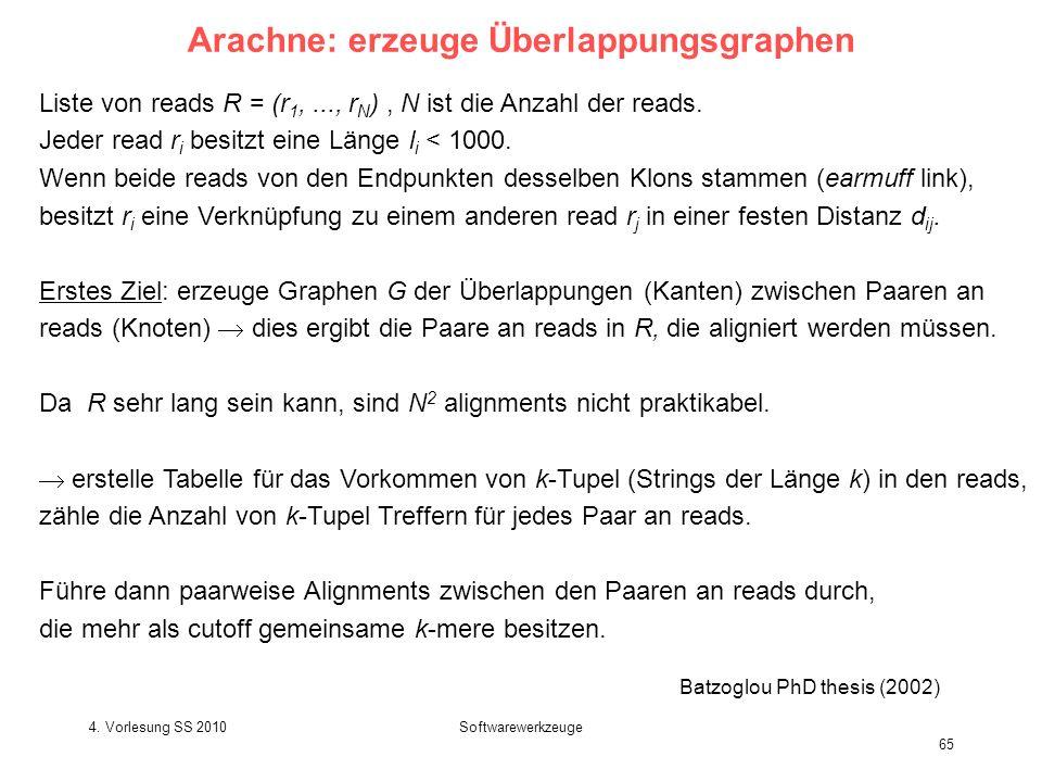 4. Vorlesung SS 2010Softwarewerkzeuge 65 Arachne: erzeuge Überlappungsgraphen Liste von reads R = (r 1,..., r N ), N ist die Anzahl der reads. Jeder r