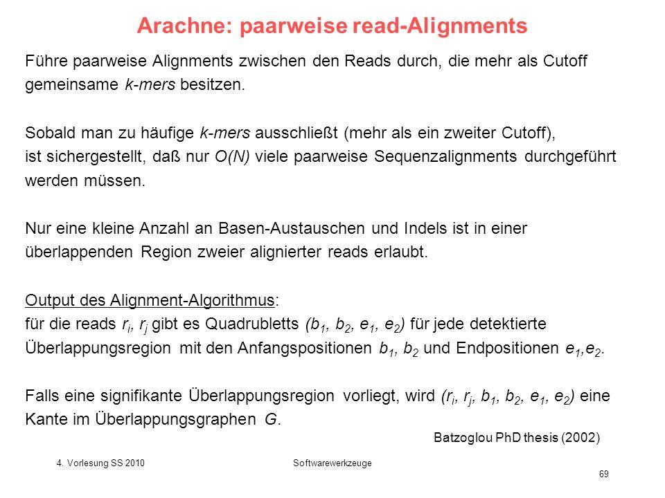 4. Vorlesung SS 2010Softwarewerkzeuge 69 Arachne: paarweise read-Alignments Führe paarweise Alignments zwischen den Reads durch, die mehr als Cutoff g