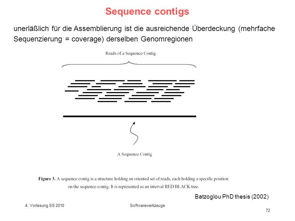 4. Vorlesung SS 2010Softwarewerkzeuge 72 Sequence contigs Batzoglou PhD thesis (2002) unerläßlich für die Assemblierung ist die ausreichende Überdecku