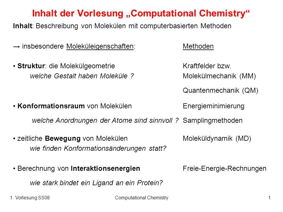 1. Vorlesung SS08Computational Chemistry1 Inhalt der Vorlesung Computational Chemistry Inhalt: Beschreibung von Molekülen mit computerbasierten Method