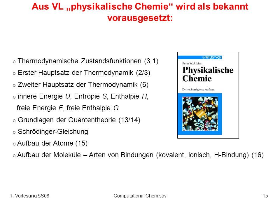 1. Vorlesung SS08Computational Chemistry15 o Thermodynamische Zustandsfunktionen (3.1) o Erster Hauptsatz der Thermodynamik (2/3) o Zweiter Hauptsatz
