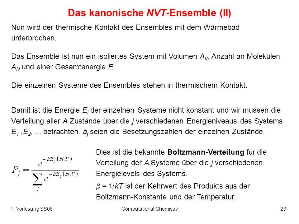 1. Vorlesung SS08Computational Chemistry23 Nun wird der thermische Kontakt des Ensembles mit dem Wärmebad unterbrochen. Das Ensemble ist nun ein isoli
