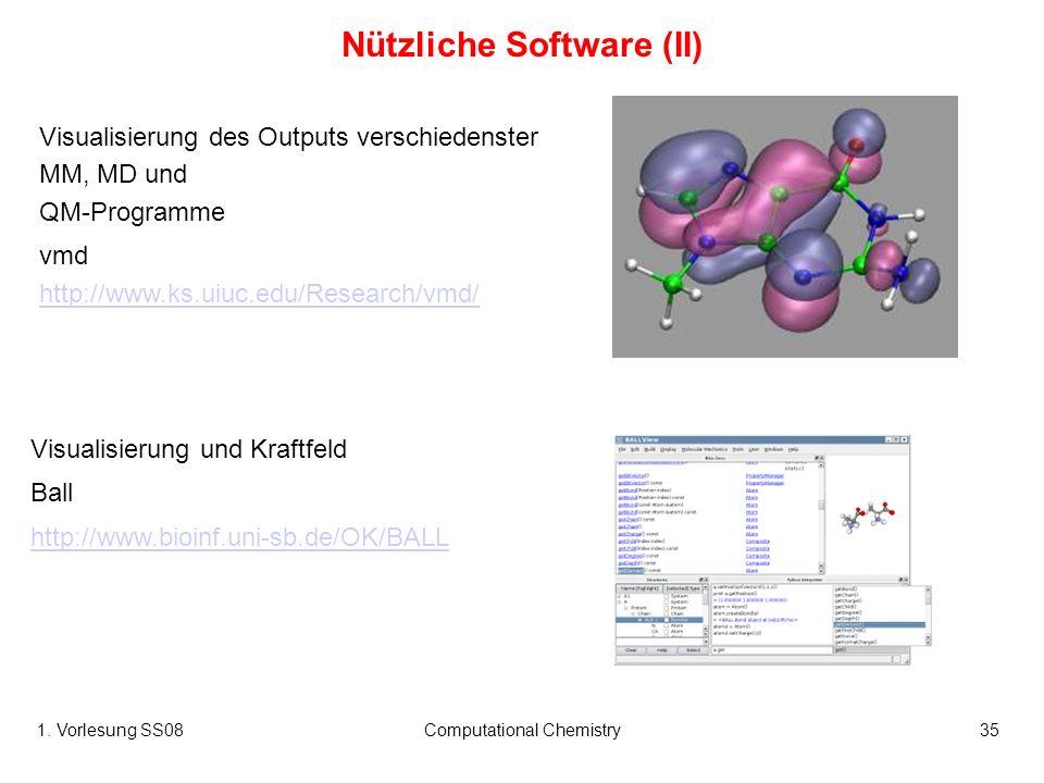 1. Vorlesung SS08Computational Chemistry35 Visualisierung des Outputs verschiedenster MM, MD und QM-Programme vmd http://www.ks.uiuc.edu/Research/vmd/