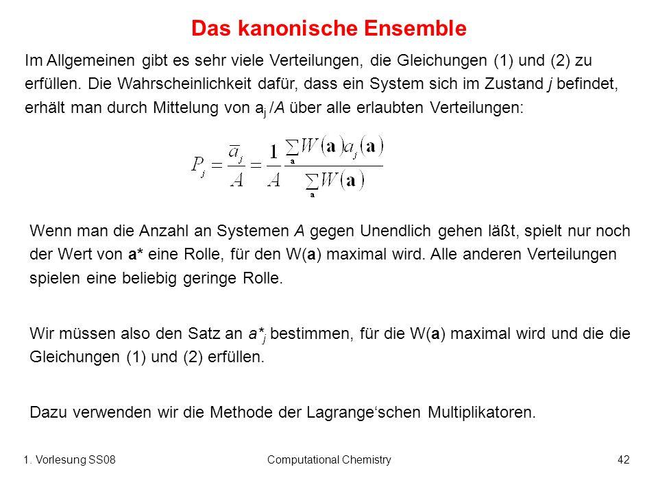 1. Vorlesung SS08Computational Chemistry42 Das kanonische Ensemble Im Allgemeinen gibt es sehr viele Verteilungen, die Gleichungen (1) und (2) zu erfü
