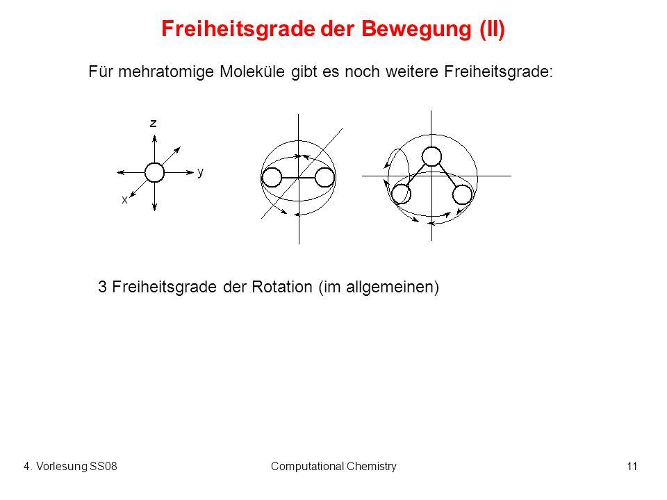 4. Vorlesung SS08Computational Chemistry11 Für mehratomige Moleküle gibt es noch weitere Freiheitsgrade: Freiheitsgrade der Bewegung (II) 3 Freiheitsg