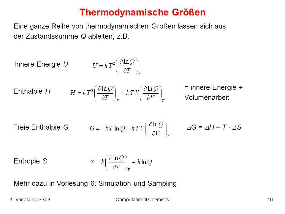 4. Vorlesung SS08Computational Chemistry16 Eine ganze Reihe von thermodynamischen Größen lassen sich aus der Zustandssumme Q ableiten, z.B. Thermodyna