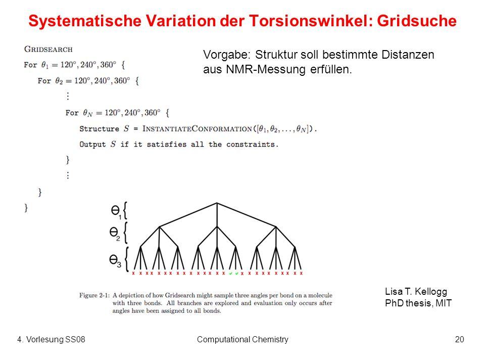 4. Vorlesung SS08Computational Chemistry20 Systematische Variation der Torsionswinkel: Gridsuche Vorgabe: Struktur soll bestimmte Distanzen aus NMR-Me