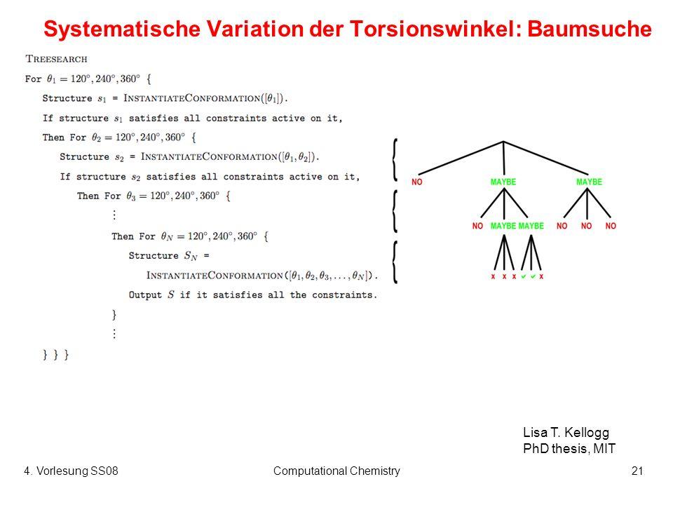 4. Vorlesung SS08Computational Chemistry21 Systematische Variation der Torsionswinkel: Baumsuche Lisa T. Kellogg PhD thesis, MIT