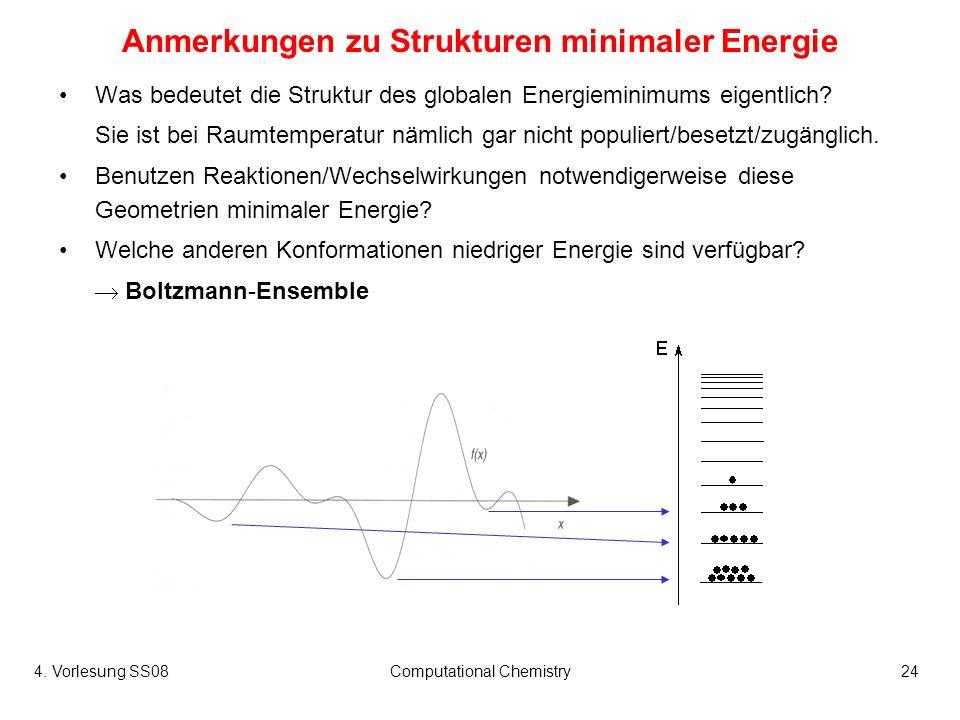 4. Vorlesung SS08Computational Chemistry24 Anmerkungen zu Strukturen minimaler Energie Was bedeutet die Struktur des globalen Energieminimums eigentli