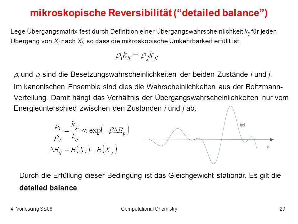 4. Vorlesung SS08Computational Chemistry29 mikroskopische Reversibilität (detailed balance) Lege Übergangsmatrix fest durch Definition einer Übergangs