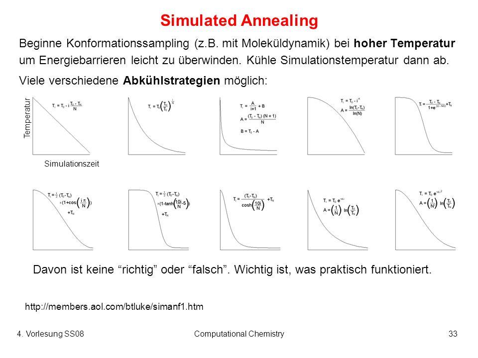 4. Vorlesung SS08Computational Chemistry33 Simulated Annealing Beginne Konformationssampling (z.B. mit Moleküldynamik) bei hoher Temperatur um Energie