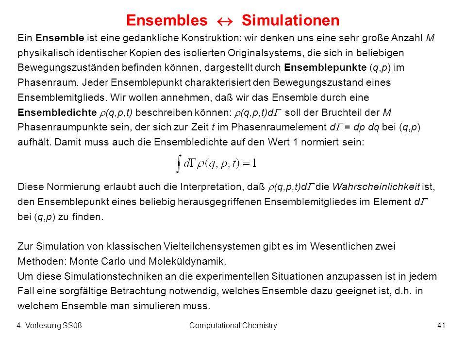 4. Vorlesung SS08Computational Chemistry41 Ensembles Simulationen Ein Ensemble ist eine gedankliche Konstruktion: wir denken uns eine sehr große Anzah