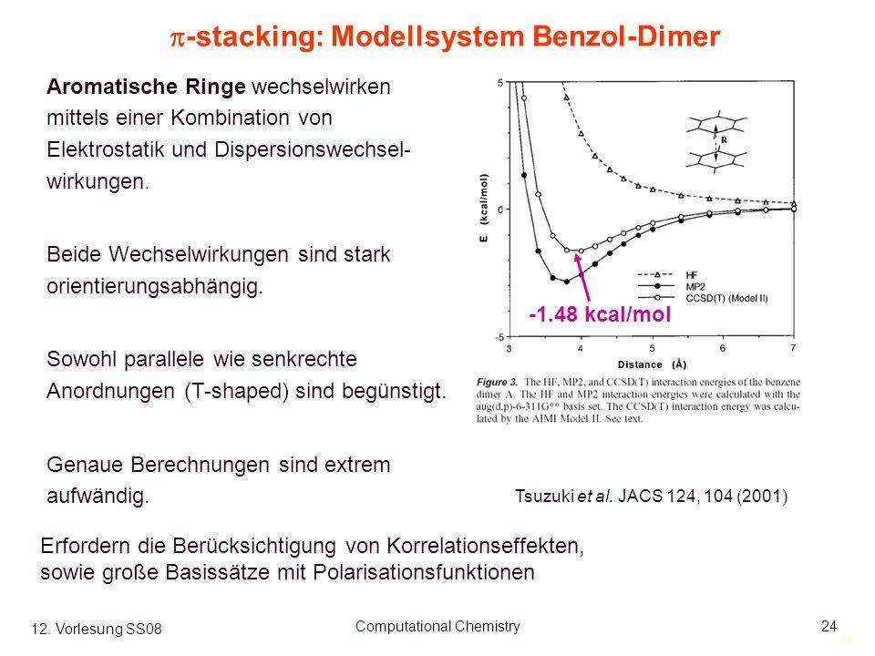 24 12. Vorlesung SS08 Computational Chemistry24 -stacking: Modellsystem Benzol-Dimer Tsuzuki et al.