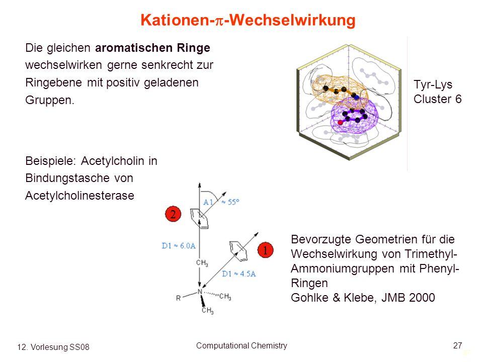 27 12. Vorlesung SS08 Computational Chemistry27 Kationen- -Wechselwirkung Die gleichen aromatischen Ringe wechselwirken gerne senkrecht zur Ringebene