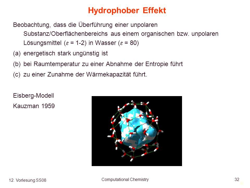 32 12. Vorlesung SS08 Computational Chemistry32 Hydrophober Effekt Beobachtung, dass die Überführung einer unpolaren Substanz/Oberflächenbereichs aus