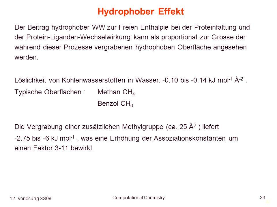 33 12. Vorlesung SS08 Computational Chemistry33 Hydrophober Effekt Der Beitrag hydrophober WW zur Freien Enthalpie bei der Proteinfaltung und der Prot