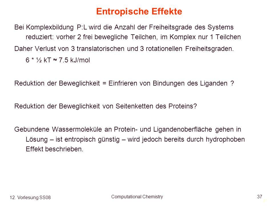 37 12. Vorlesung SS08 Computational Chemistry37 Entropische Effekte Bei Komplexbildung P:L wird die Anzahl der Freiheitsgrade des Systems reduziert: v