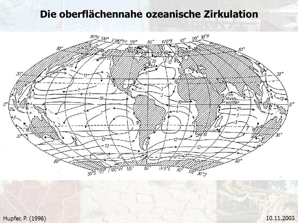 10.11.2003 Die oberflächennahe ozeanische Zirkulation Hupfer, P. (1996)