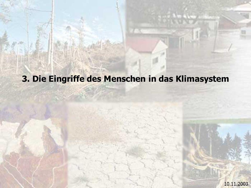 10.11.2003 3. Die Eingriffe des Menschen in das Klimasystem