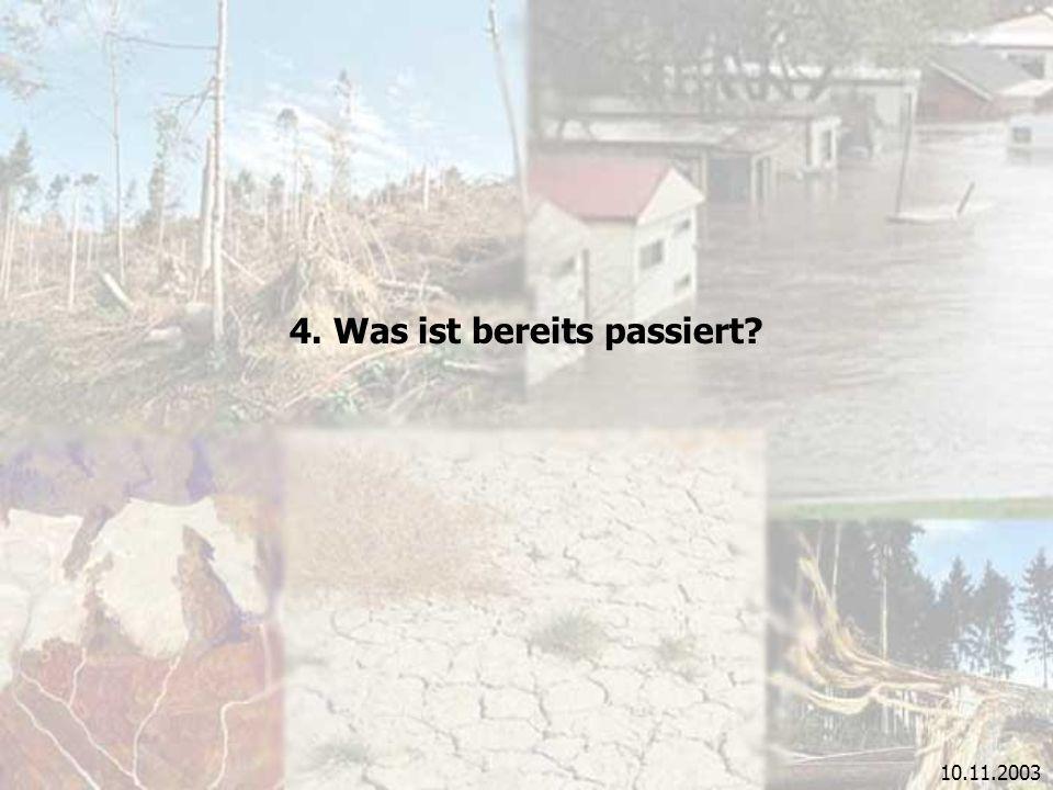 10.11.2003 4. Was ist bereits passiert?