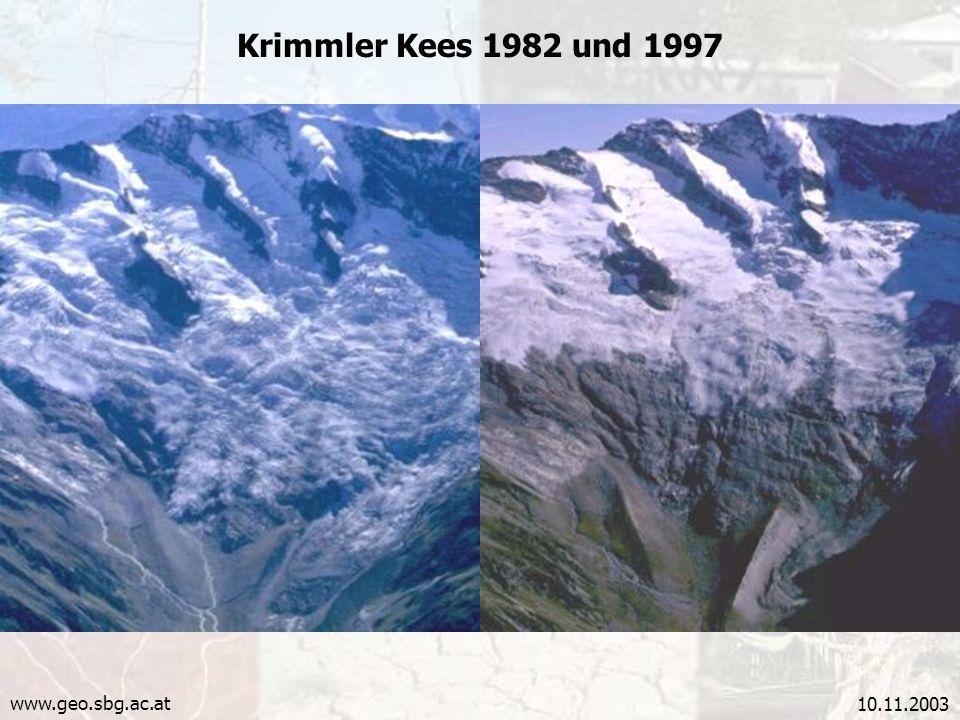 10.11.2003 Krimmler Kees 1982 und 1997 www.geo.sbg.ac.at