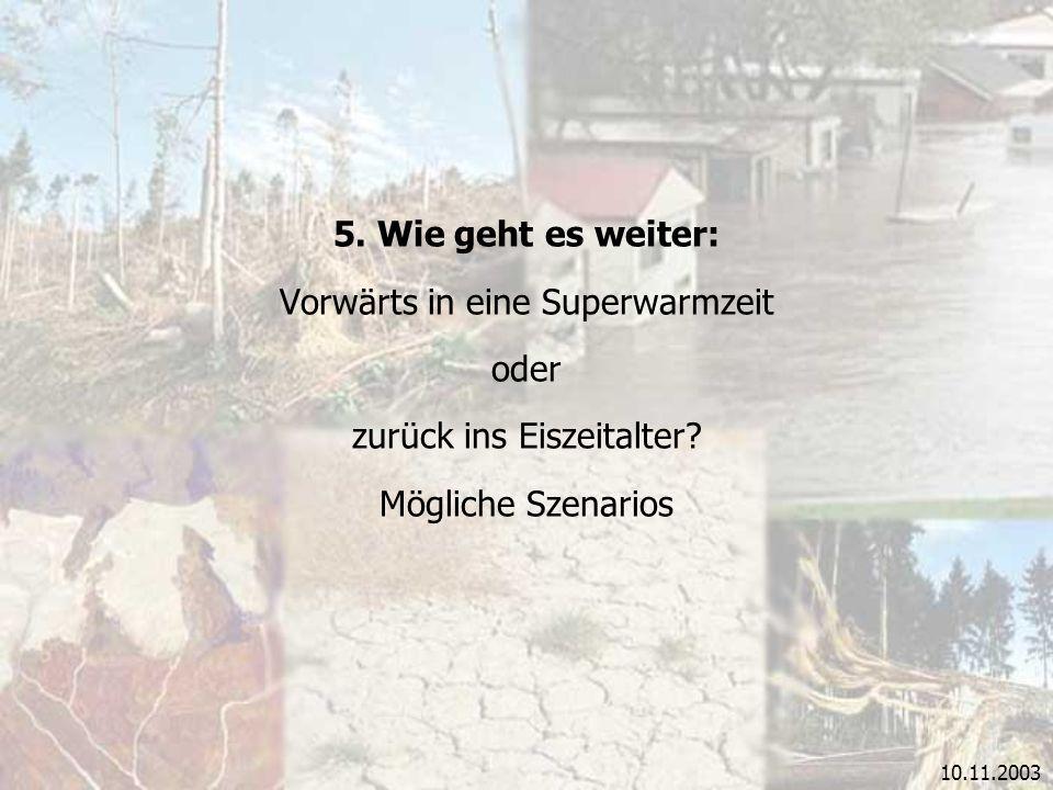 10.11.2003 5. Wie geht es weiter: Vorwärts in eine Superwarmzeit oder zurück ins Eiszeitalter? Mögliche Szenarios